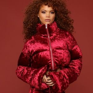 Fashion Nova x Cardi B XL Burgundy Crushed Jacket